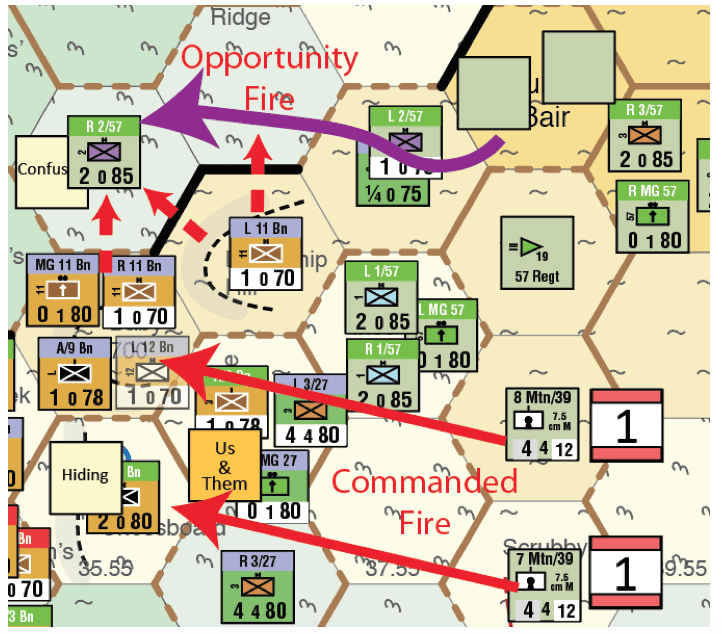 Map 3 – Ottoman commanded fire and the movement of 2/57 Battalion