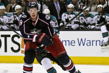 April 9, 2013: Ryan Johansen (CBJ - 19)  The Columbus Blue Jackets shut out the San Jose Sharks 4-0 at Nationwide Arena in Columbus, OH.  (Inside Hockey - Rachel Lewis)