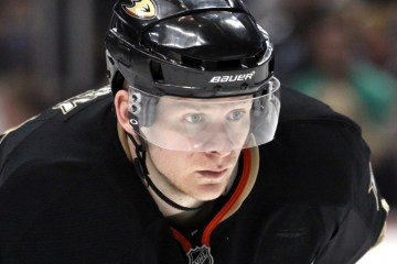 Anaheim Ducks forward Corey Perry prepares for a first period fa