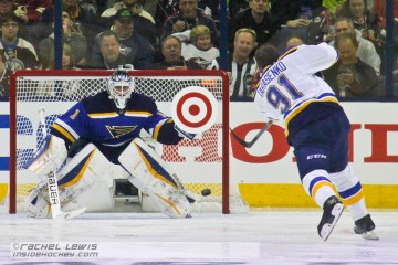 Vladimir Tarasenko of the St. Louis Blues shoots on teammate Brian Elliot during the Honda NHL Breakaway Challenge.