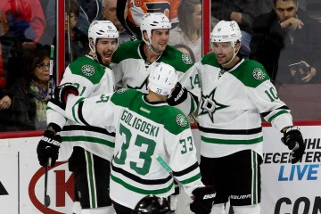 Members of the Dallas Stars celebrate a goal during the first period