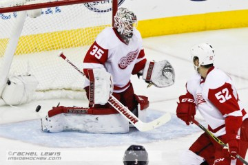 David Savard (CBJ - 58; not pictured) scores a goal against Jimmy Howard (DET - 35).