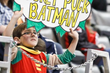 A young Havoc fan dressed as Robin on Superhero Night.