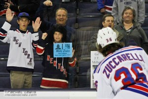 A young Rangers fan holds a sign for Mats Zuccarello (NYR - 36).