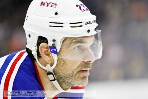 Dan Boyle (NYR - 22) waiting for the faceoff.