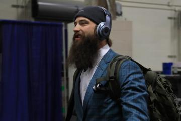 Brent Burns during postgame.