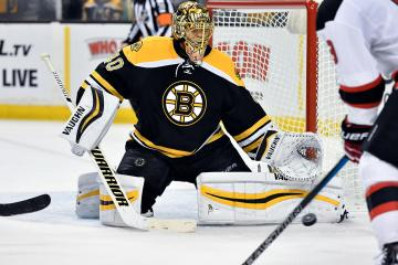 Save by Boston Bruins goalie Tuukka Rask (40) during a NHL game.