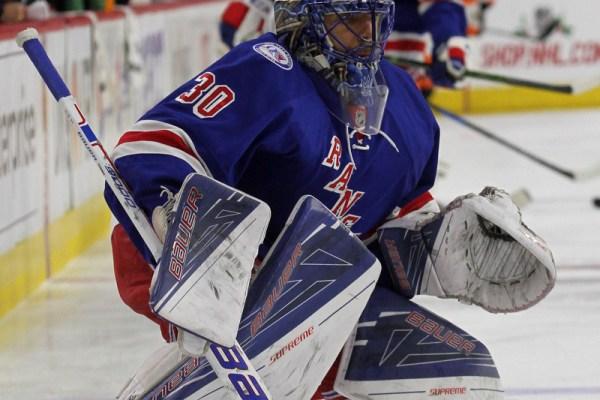 Goalie Henrik Lundqvist (#30) of the New York Rangers