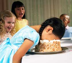 Inside Magic Image of Birthday Girl Embarrassed by Hired Magician