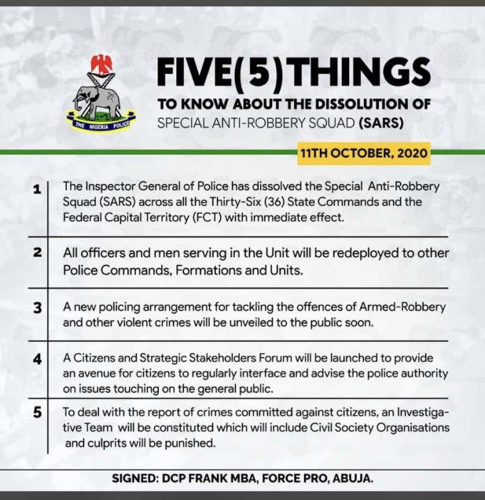 Important Things to know about the dissolution of Special Anti Robbery Squad (SARS)