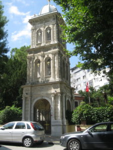 The solemn bell tower of the Church of St Panteleimon