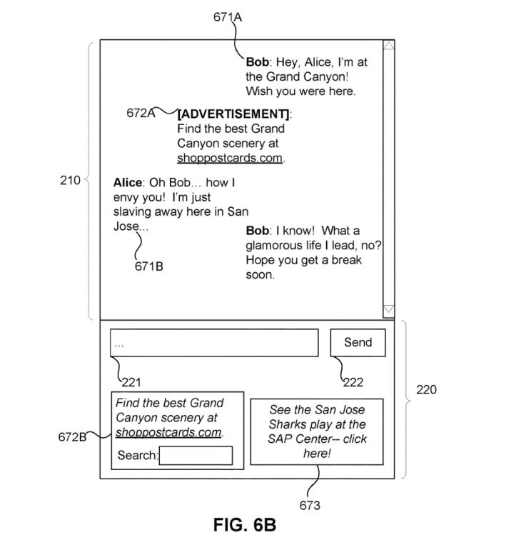 Facebook Messenger ad patent