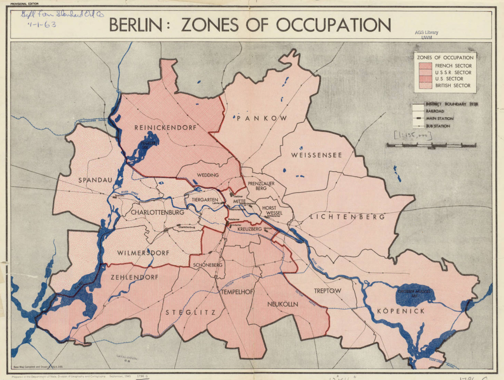 Berlin Zones Of Occuption - Map of divided berlin