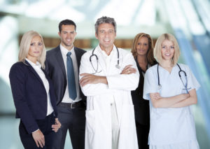 Businesspeople And Medical Workers