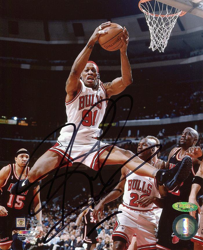 Hologram Wallpaper Hd Dennis Rodman Autographed Chicago Bulls Mid Air Dunking