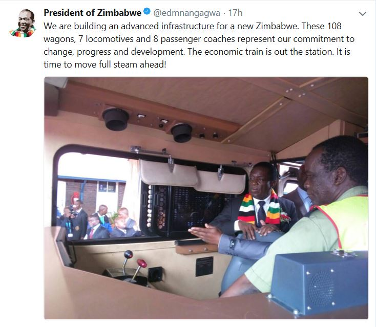 Zimbabwean president commissions equipment to help revive state rail company