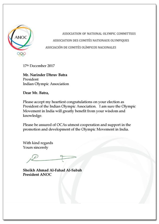 ANOC letter acknowledging the results of IOA elections - InsideSport