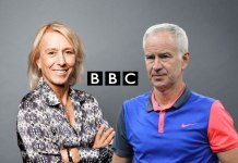 Martina Navratilova (left) and John McEnroe (right, former tennis stars and broadcast presenter of Wimbledon at BBC - InsideSport