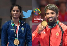 Wrestling gold medalists Vinesh Phogat (left) and Bajrang Punia (right)