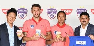 Bengaluru FC Nissin partnership,hero indian super league,Indian Super League Bengaluru Football Club,nissin instant noodle,ISL bengaluru fc partnership