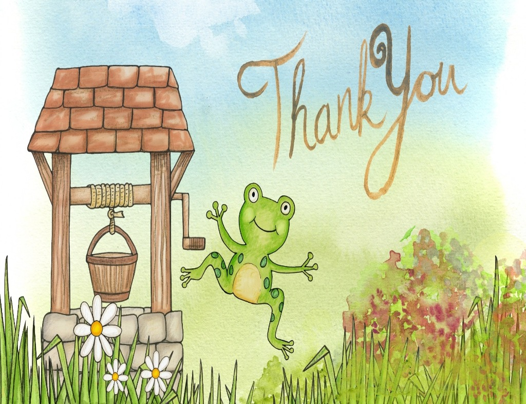 "A watercolor painting of a frog saying ""Thank You"". There is a wooden well to the left with a wooden bucket dangling by light brown yarn. ""Thank You"" in cursive is written in light brown in front of a blue sky. The green frog is at the center. It is mid-air with its arms open and a smile on its face. It is green and hovering over green grass and flowers than are white and yellow. On the right side in the back, there are red and green shrubs."