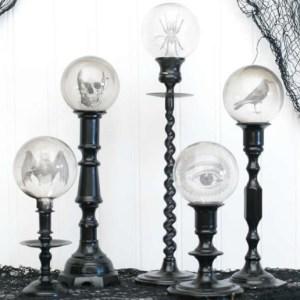 DIY Spooky Crystal Ball Candlesticks