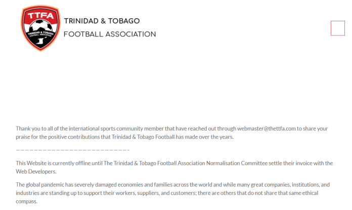 The Trinidad and Tobago Football Association website is currently inaccessible ©thettfa.com