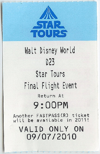 Special Star Tours Final Flight Fastpass