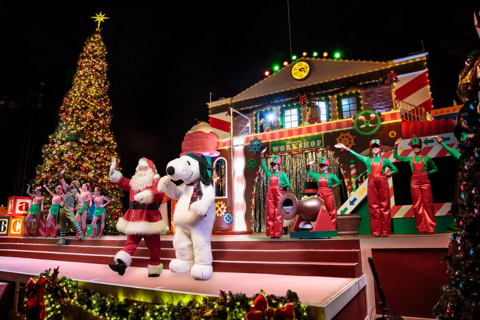 The Big Christmas Tree Located On The Stage In Calico
