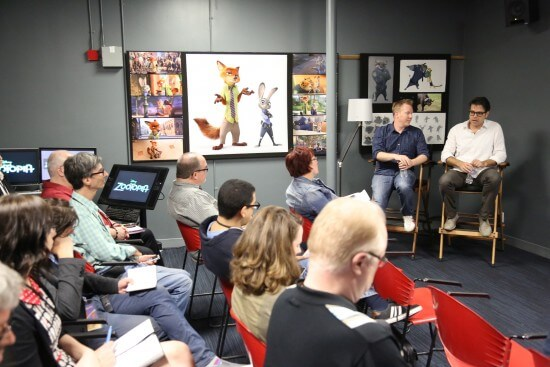 """""""Zootopia"""" Writer and Co-Director Jared Bush and Writer Phil Johnston during a media presentation at Disney Animation Studios (Photo by Alex Kang. ©2015 Disney. All Rights Reserved.)"""
