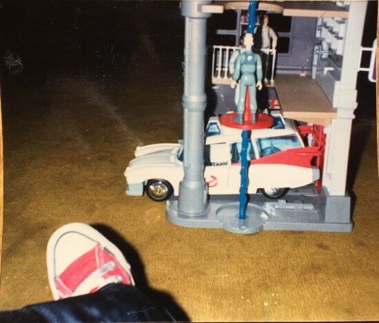 A photo I took of my own foot, with Ghostbusters toys in the mid-80s. Image Copyright Mike Celestino.