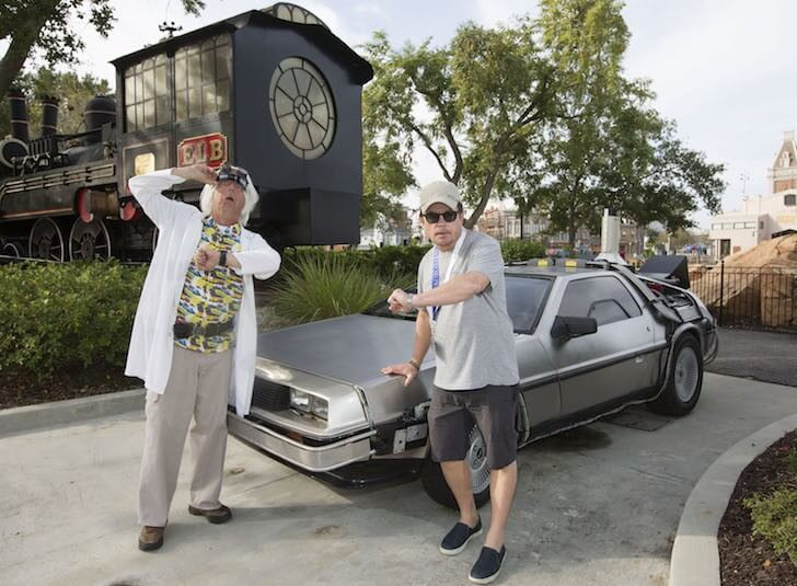 Michael J Fox Poses With The Delorean From Back To The