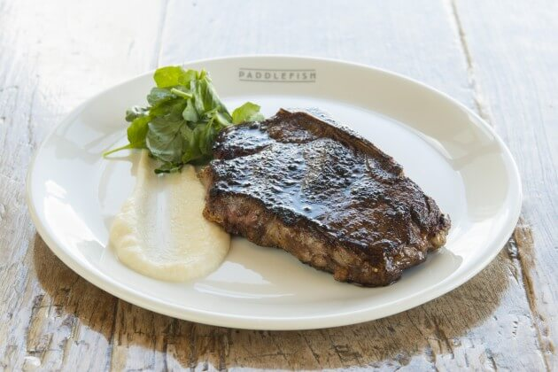 New York Strip with Cauliflower Puree