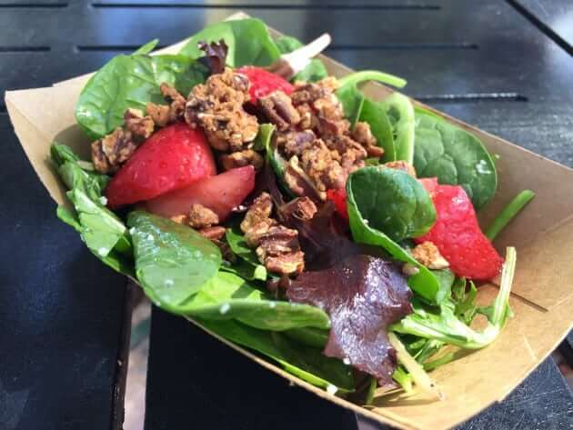 Field Greens with Fresh Strawberries, Blue Cheese, Strawberry Vinaigrette, and Spiced Pecans (The Berry Basket)