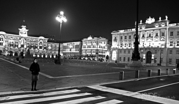 Beautiful black and white image of Trieste, Italy at night from @insidetravellab