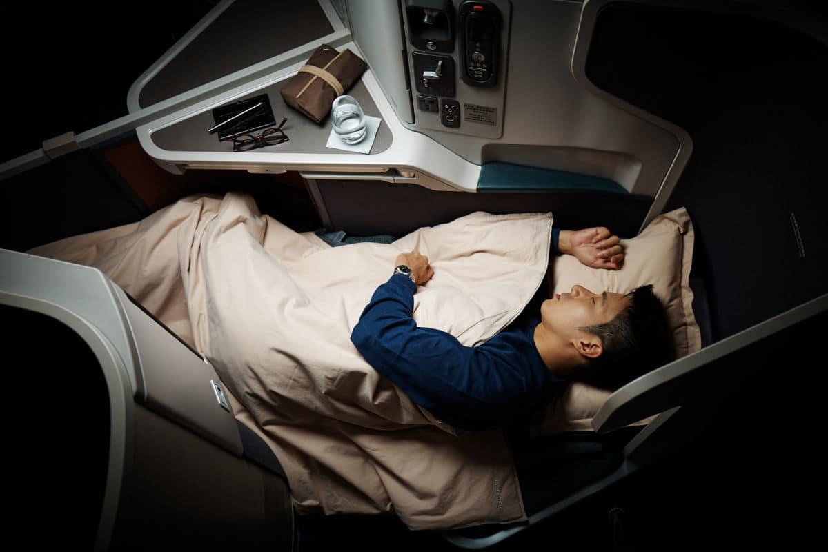 Cathay Pacific Business Class Review - Fully reclining beds perfect for sleeping