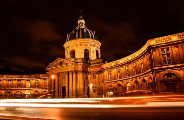 Speed at night outside Institut de Paris