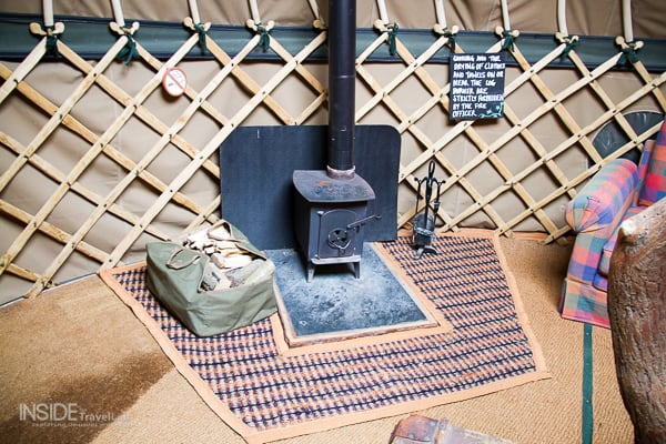 Stove within luxury camping glamping yurt