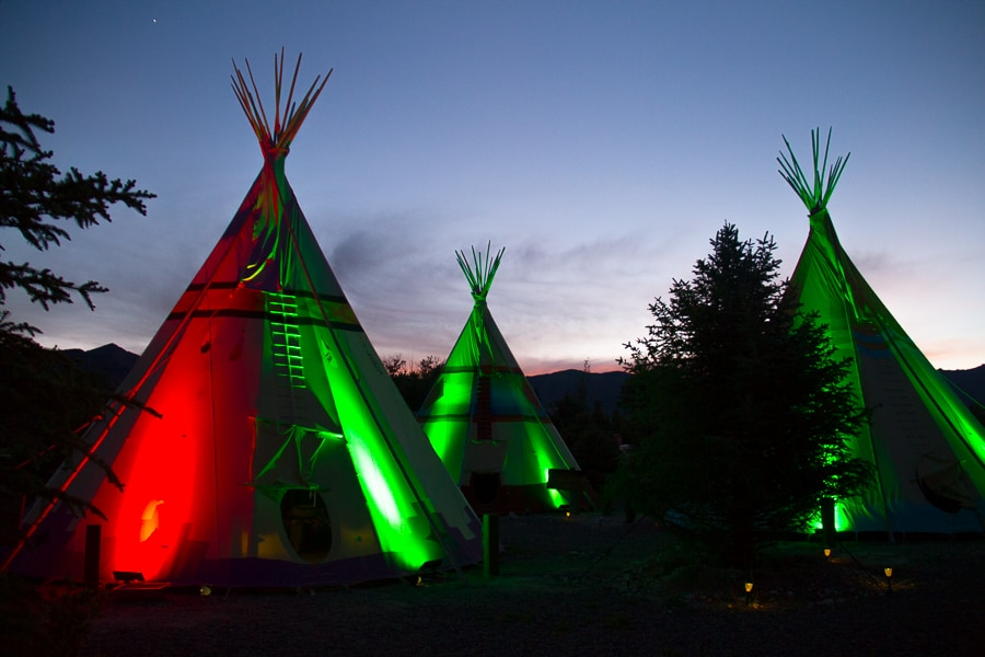 Glow in the dark tipis at Mustang Monument