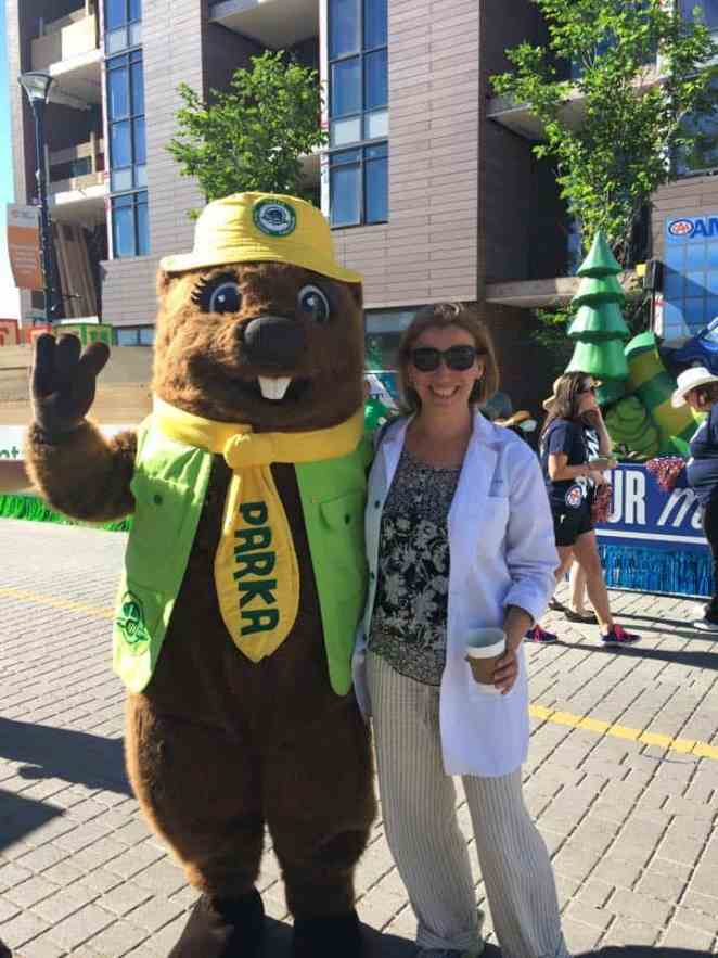 Abi with Beaver at the Calgary Stampede