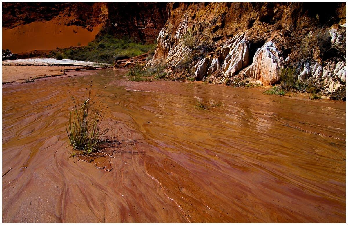 Red tsingy river formation Madagascar