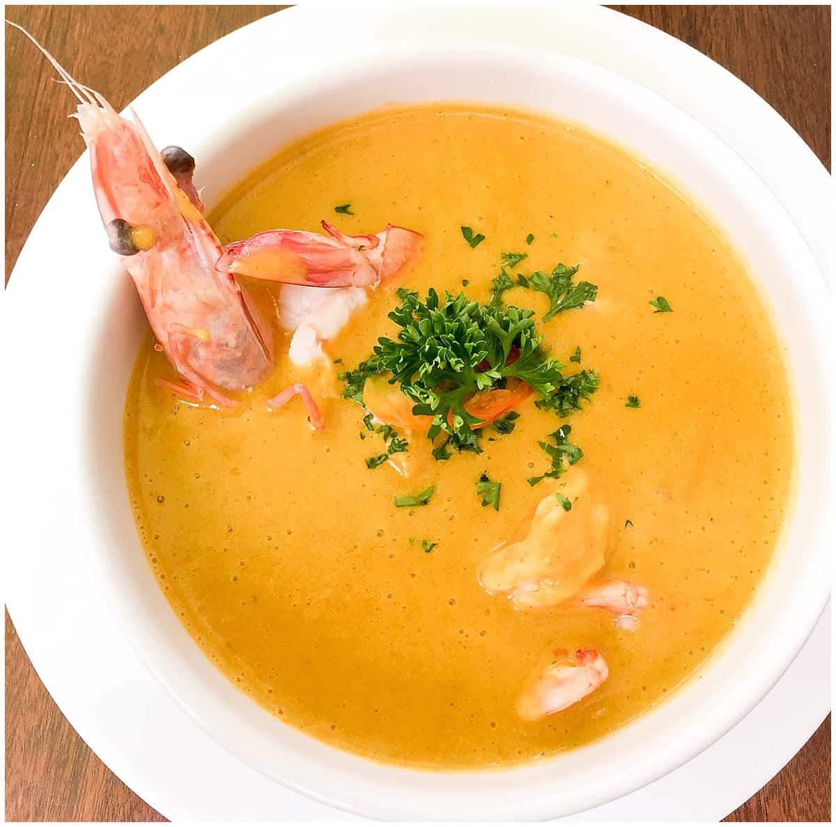 Orange soup in Quito Ecuador