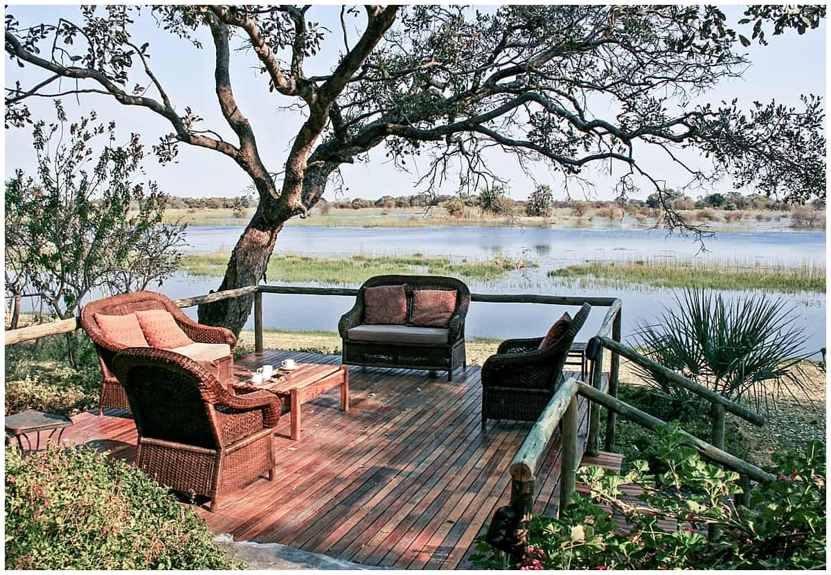 Relaxing on a riverside lodge in Maun near the Okavango Delta