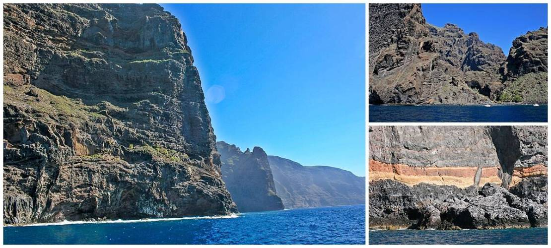 Landscape around Los Gigantes in Tenerife seen from a whale watching boat