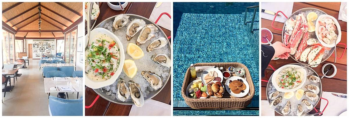 Food at the Ritz Carlton Al Hamra Beach resort - floating, Shore restaurant and seafood platter