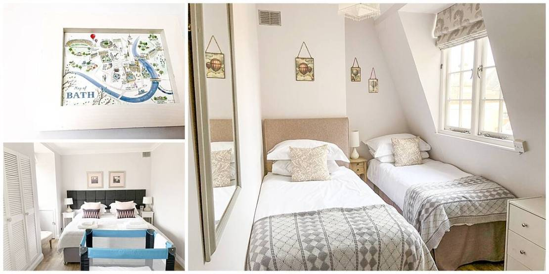 Travel cot and twin rooms in Bath Circus House Hideaways