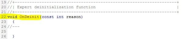 OnDenit() - Funktionen im Metatrader Editor - MQL5