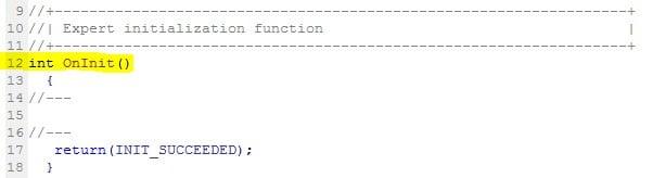 OnInit() - Funktionen im Metatrader Editor - MQL5