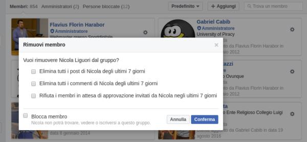 gruppi facebook elimina membro