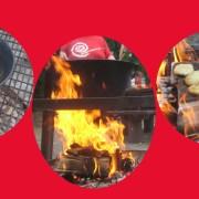 Topf auf Lagerfeuer und Pizzabrot auf heißen Steinen